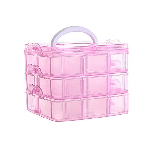 Caja Almacenamiento Plástico, Caja De Almacenaje, Caja de almacenamiento portátil desmontable transparente de tres capas para guardar juguetes, joyas, herramientas, artes y manualidades (rosa)