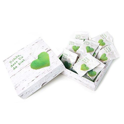 5 Geschenkkarton SCHÖN DASS DU DA BIST Herz grün weiß gepunktet MIT 25 mini-Tüten Gummibärchen Fruchtgummi Füllung Inhalt als Gastgeschenk Mitgebsel give-away Kunden Gäste