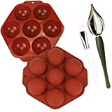 2 pcs Semi Sphere Silicone Mold, Chocolate Candy Dipping Tools Decorating Spoons 7 Cavities Baking...