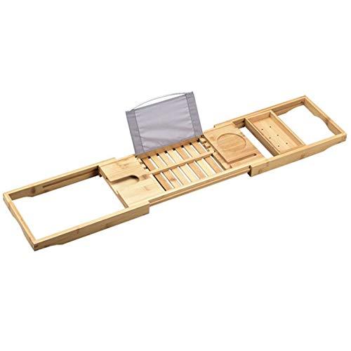 KJGHJ 105cm Baño Bambú Bañera De Hidromasaje Plataforma Puente Bandeja Caddy Estante Retráctil Copa De Vino Libro Holder Bañera Anaquel De Soporte De Bandeja Caddy Bañera