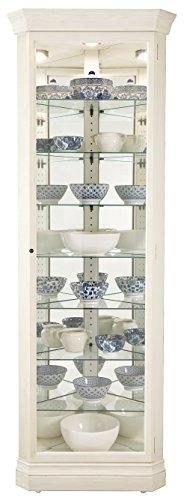 Howard Miller Delia II Curio Cabinet 680-642 – Aged Linen Finish, Vertical Home Decor, Seven Glass Shelves, Eight Level Display Case, Locking Door, No Reach Light