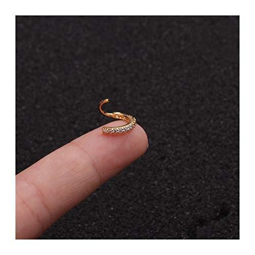 Hkldm Nariz cz joyería del aro de Ventana de la Nariz Anillo Pendientes Pendientes Cadena Corporal (Color : A Gold Color, Size : 20G 0.8x10mm)