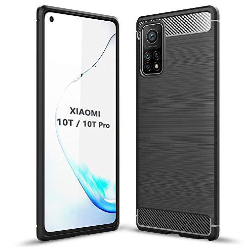 TANYO Cover Fibra per Xiaomi Mi 10T / Mi 10T PRO, Custodia Silicone TPU con Antiurto Protezione Bumper, Custodie Guscio Case Caso - Nero