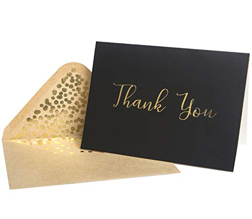 Thank You Cards -50 Pack Black and Gold Thank You Cards, Black Thank You Cards With Fancy Gold Foil letters- Include 52 Kraft Envelopes- For Funeral, Birthday, Wedding Thank You Cards - 4 x 6 inch