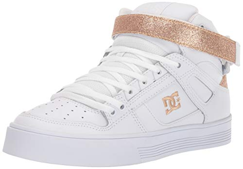 DC Women's Pure HIGH-TOP V Skate Shoe, White/Gold, 5.5 M US