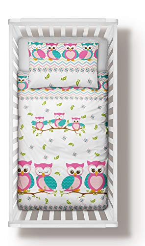 Duvet Cover + Pillowcase 90 cm x 120 cm Bedding Set Pink Owls for Girls to fit cot 60x120 cm (90x120 cm)