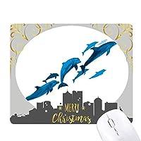 イルカのビッグ・スモール クリスマスイブのゴムマウスパッド