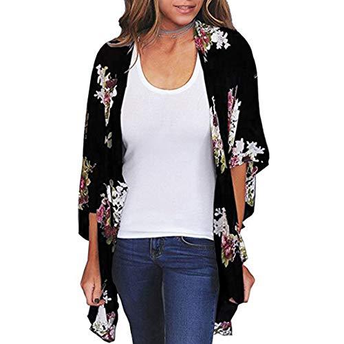 Durio - Kimono para mujer, blusa corta de verano para playa, ligera con flores Negro S