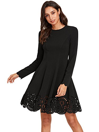 ROMWE Women's Scalloped Hem Stretchy Knit Flared Skater A-line Dress Black L