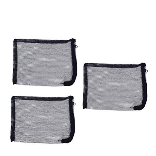 POPETPOP 3pcs 15x20CM Cremallera Nylon Bolsas de Filtro de Acuario para biosferas de carbón Activado Anillos de cerámica limpios y reciclables (Negro)