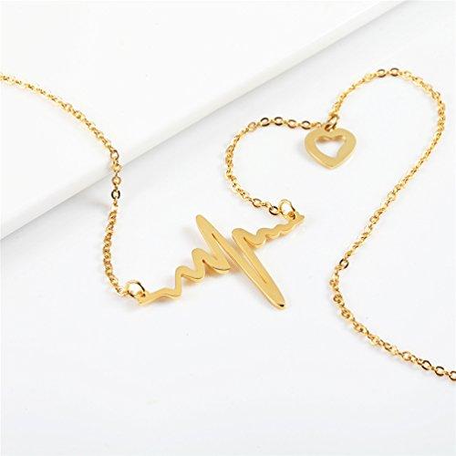 Collier Battement de coeur tour de cou pour femmes bijoux délicats en acier inoxydable 316L plaqué or ECG - 5