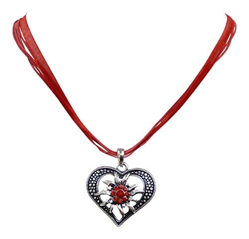 Trachtenschmuck Dirndl Herz Kristall Edelweiss Collier -Kristall Anhänger Trachtenkette (Light Siam / Rot)