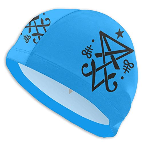 HFHY Occult Sigil of Lucifer Satanic Adult Summer Beach Bath Caps for Men Women Unisex