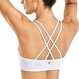 CRZ YOGA - Sujetador Deportivo Yoga Cruzados Almohadillas Extraíbles para Mujer Blanco M