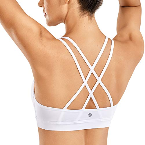 CRZ YOGA Strappy Padded Sports Bra for Women Activewear Medium Support Workout Yoga Bra Tops White-Logo XS