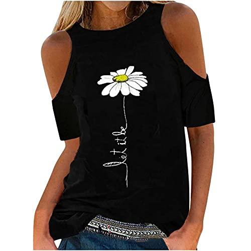 AMhomely Camisas y blusas para mujer con estampado de manga corta, para verano, informal, para mujer, para oficina, talla británica