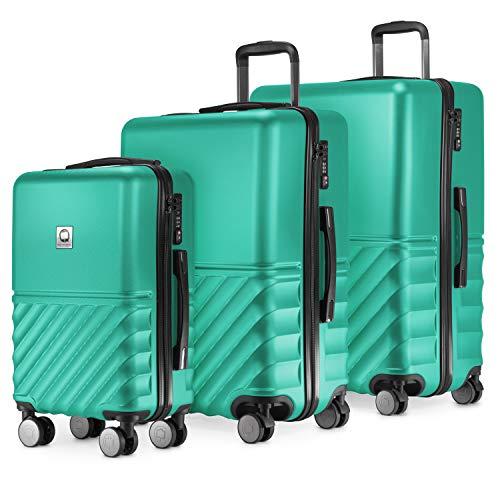 HAUPTSTADTKOFFER - Boxi - 3er Koffer-Set Trolley-Set Rollkoffer Reisekoffer TSA, 4 Rollen, (S, M & L), Türkis