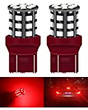 2-Pack 7443 7440 T20 LED Rosso Non Polarità Estremamente Luminoso, 9V-30V DC 2835 33 SMD, Auto Sostitutiva per Luce Retromarcia, Fanale Posteriore, Luce del Freno