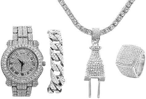 Bling Bling Plug Hip Hop Pendant Iced Look Luxury Watch Covered with Crystal Clear Rhinestones product image