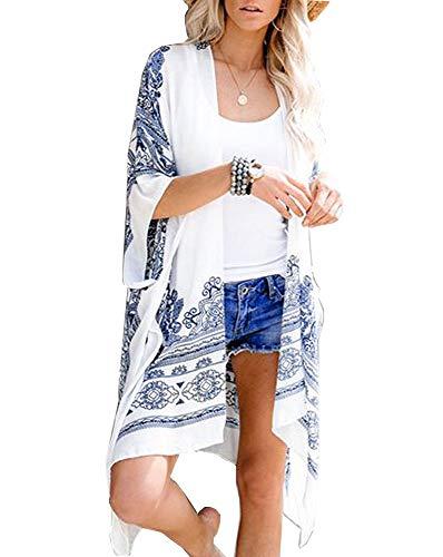 Walant - Cardigan da donna, stile Kimono casual, estivo, floreale, in mussola Blanc/Bleu avec Imprimés M