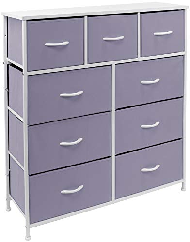 Sorbus Dresser with 9 Drawers - Bedside Furniture & Night Stand End Table Dresser for Home, Bedroom Accessories, Office, College Dorm, Steel Frame, Wood Top (9-Drawer, Purple)