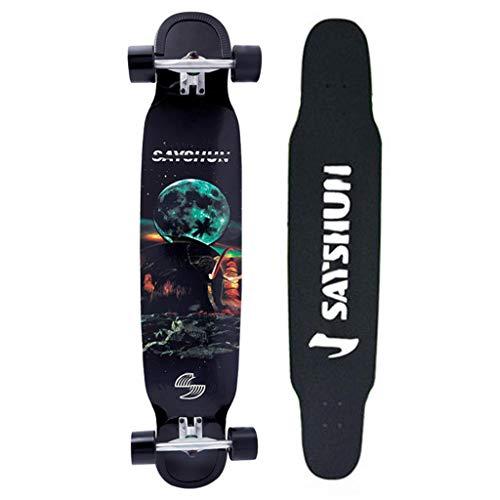 TYXTYX Longboard Komplett Skateboard Long Board 117cm (46 inch) kanadischer Ahorn Skateboard Longboard, Freestyle,Carving und Cruising Longboards mit ABEC 11 Kugellagern