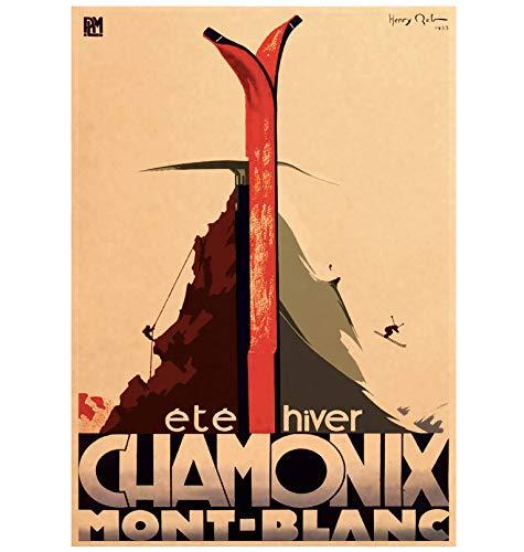 Wall Art Picture Poster Canada Ski In Alaska Impresión en Lienzo Pintura Esquí Vintage Pegatinas de Pared Decoración del hogar Fotos Regalo 40X50Cm Sin Marco