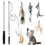 Czoele Juguete de la Pluma del Gato, Varita interactivos para Gato,Juguete para Mascota,Juguete de Negro Varita con 5 Plumas,Incluye varitas Mágicas y 5 Plumas de Recambio, Gatito,Cats
