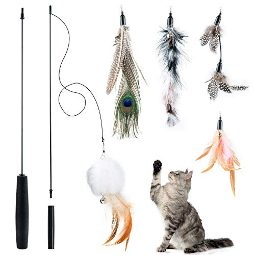 per Giocattoli Interattivi Animali Domestici Gatti AllInterno e AllEsterno Cat Interactive Wand Toy Set di Giocattoli per Gatti 7 Pezzi Giocattolo Interattivo Gatti Gatti Giocattoli Interattivi