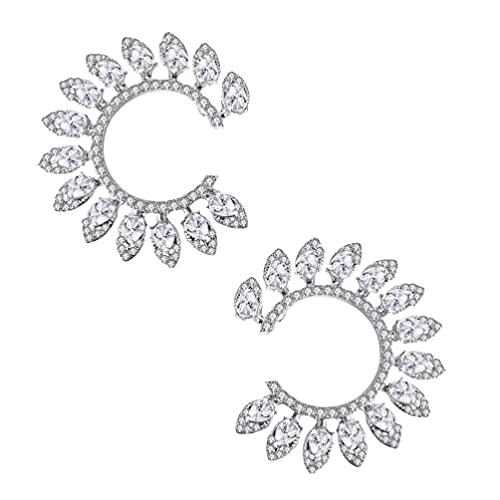 Happyyami 1 par de Pendientes con Forma de Sunflowwer Pendientes de Diamantes de Imitación Circonita Cúbica Pendientes de Broche Joyería de Oreja para Damas Y Mujeres