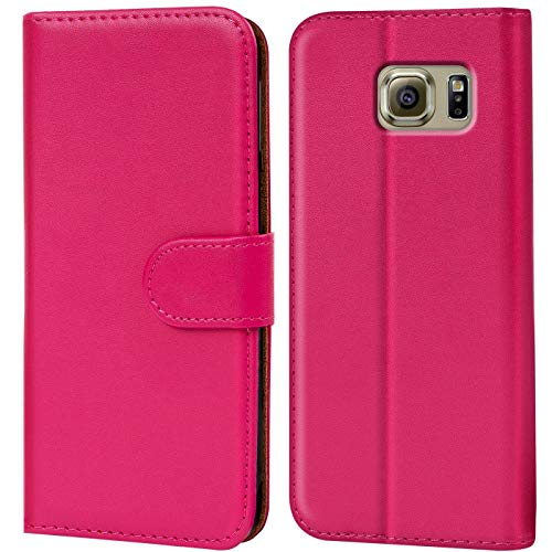 Verco Funda para Samsung Galaxy S6 Edge, Telefono Movil Case Compatible con Galaxy S6 Edge Libro Protectora Carcasa, Rosa