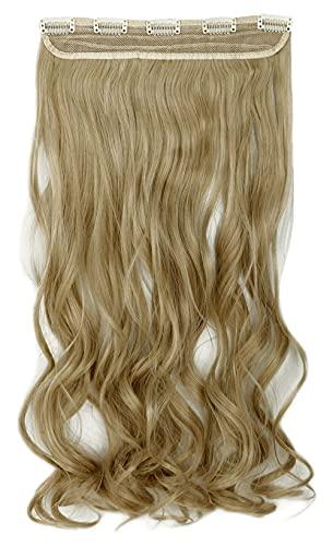 Mistura loiro acinzentado, loiro, encaracolado, moderno, 66 cm, meia cabeça inteira, uma peça, 5 clipes de extensões de cabelo com clipe, extensão reta longa
