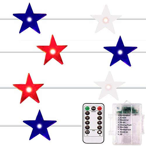 ADAINA Remote Dimmer,Red White Blue,Outdoor Led String Lights,8 Model Waterproof 40 LEDs,14Ft,4th for July Flag Lights,Memorial Independence Day,Patriotic Decoration(Red White Blue)