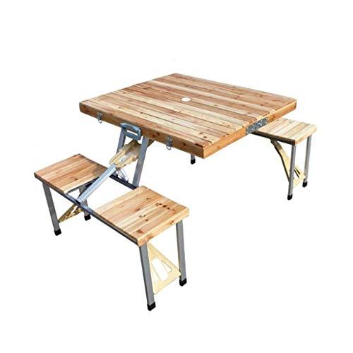 zyy vouwen outdoor campingtafel, massief hout stuk vouwen tafel en stoel draagbare veld auto tafel