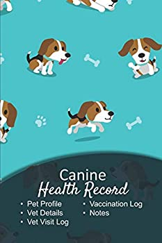 Canine health record  Dog vaccine record book   Pet health record   Puppy vaccine record   101 pages 6 x9    Paperback   green background cute little dog with a bone