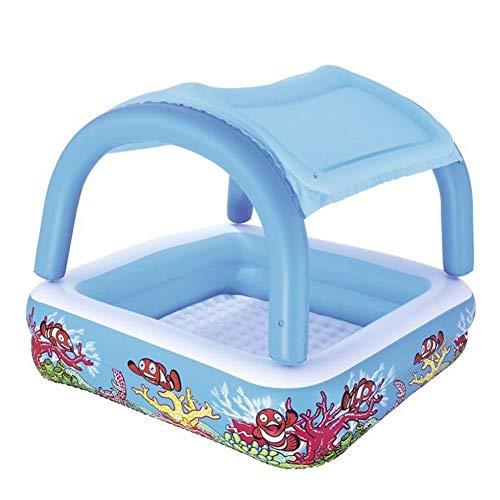 Yqs Piscina Hinchable Niños Piscina for niños con extraíble Toldo inofensivo Espesado Burbuja Inferior Multi-Funcional FunctionalMulti-Inflable Swimmi