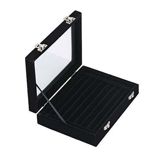 Kitchnexus Samt Ringkasten Schmuckkasten Aufbewahrungsbox, Schmuckdisplay Box mit Glas Deckel - für Ringe, Ohrringe, Broschen
