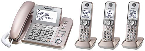 PANASONIC Corded/Cordless Phone System with Answering Machine and One Touch Call Blocking – 4 Handsets - KX-TGF353G2 (Rose Gold)