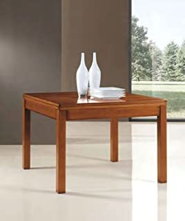 Mesa de cocina extensible cuadrada de madera y diseño con apertura libre. Clásico y moderno.