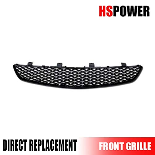 HS Power Black Finished JDM T-R Mesh Front Hood Bumper Grill Grille 2002-2005 for Honda Civic Si EP3 3 Door Hatchback