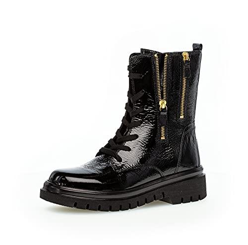 Gabor Damen Combat Boots, Frauen Stiefeletten,Wechselfußbett,Best Fitting,Kurzstiefel,uebergangsschuhe,schwarz(schw)(Gold,38.5 EU / 5.5 UK