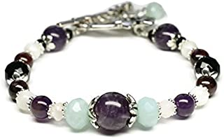Stress Relief and Anti Anxiety Gemstone Wellness Bracelet/Rose Quartz/Amazonite/Amethyst/Onyx/Moonstone/Garnet/Positive Energy/Holistic Healing Jewelry/Genuine Crystals