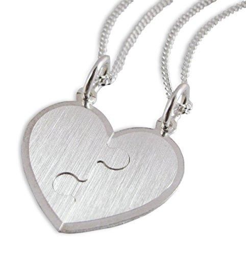 Partnerhanger deelbaar hart puzzel 925 zilver met 2 pantserkettingen vriendschap liefde