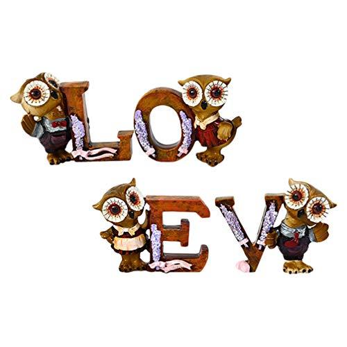 Garneck Vintage Rústico Amor Letras Inspirador Búho Pájaro Animal Figuras Mesa Decorativa Amor Signo