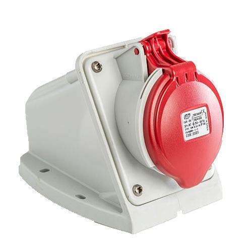Base enchufe industrial hembra 3P+N+T 380V IP44 superficie 16 A Rojo