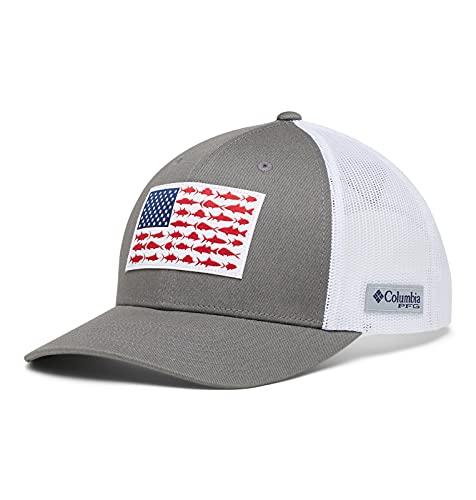 Columbia PFG Snap Back Fish Flag Ballcap, Titanium/White, One Size