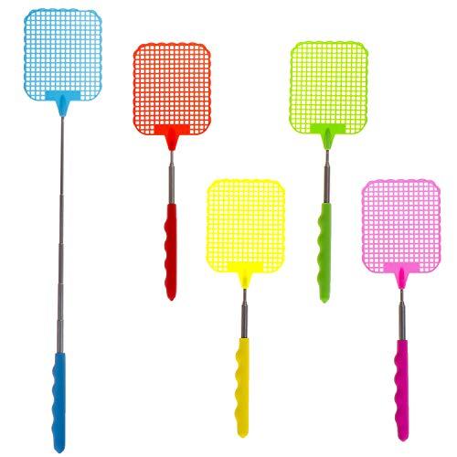 LOCOLO Lot de 5 Nouveaux Mise à Niveau Extensible Tapette Pest Control, Plastique Fly Swatters, Manche télescopique en Acier Inoxydable, Multicolore, léger,