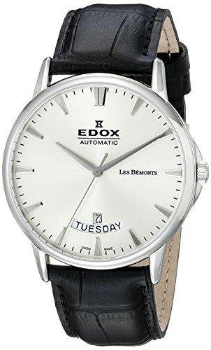 EDOX Reloj Analogico para Hombre de Automático con Correa en Cuero 83015-3-BIN