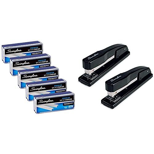 """Swingline Staples, S.F. 4, Premium, 1/4"""" Length, 210/Strip, 5000/Box, 5 Pack (35481) & Stapler, Commercial Desktop Staplers, 20 Sheet Capacity, Black, 2 Pack"""
