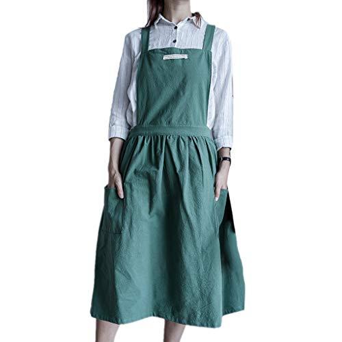 Jingdu, falda plisada nórdica, delantal de lino y algodón, babero con bolsillo para flores, cafeterías, cocina, repostería, jardinería para restaurante